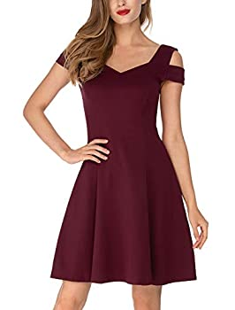 InsNova Summer Cocktail Dress for Women Juniors Teens Girls Wedding Guest Birthday Party Special Occasions Burgundy