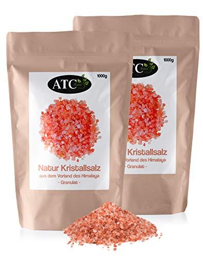 ATC Vital Rosa Natur Kristallsalz - bekannt als Himalaya Salz - Granulat im Aromabeutel - 2 x 1000g (2kg)