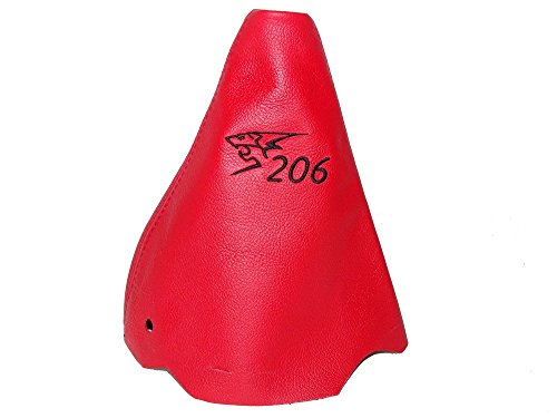 Para Peugeot 206206CC 1998–2012Gear polainas Piel de color rojo negro 206logotipo bordado