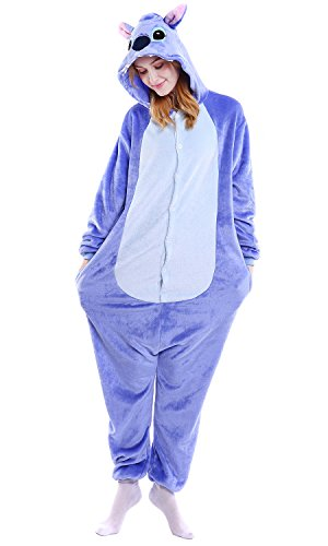 Dolamen Adulto Unisex Kigurumi Pigiama Onesie, Donna Uomo Anime Cosplay Halloween Natale Party Costume Attrezzatura Sleepwear (Large (65'-68,8'), Stitch)