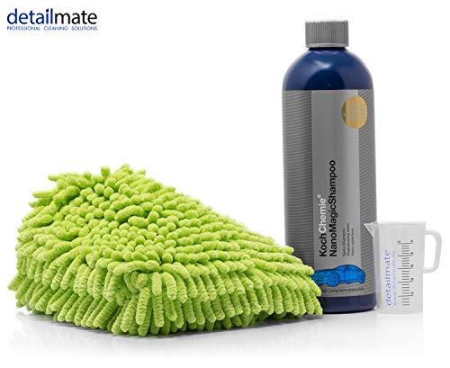 detailmate Autowäsche Set: Koch Chemie Nano Shampoo 750ml + Waschhandschuh Chenille + skalierter, hochwertiger Messbecher 50 ml