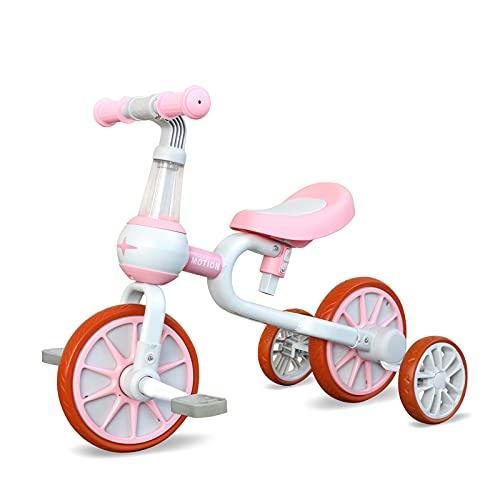 YGJT YGJT Triciclo Bebe Bicicleta Niño 1-4 Años Correpasillos de Equilibrio 3 en 1 Triciclos Bebes con Pedales con 4 Ruedas para Niños Regalos Originales Niña Cumpleaños (Rosa