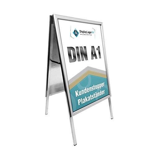 Displaylager - Günstig Kundenstopper Alu-Line Gehrung A1 | Plakatständer DIN A1 Für 2 Plakate | mit entspigelten APET Frontplatten | 32mm Alu Klapprahmen Profil |