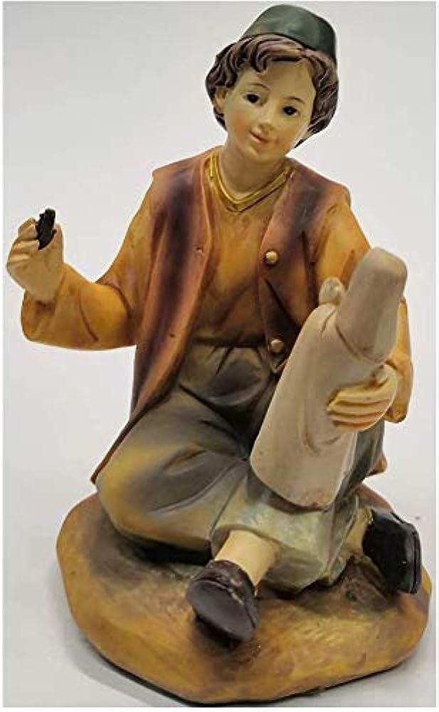 Personaggio presepe pastore artigiano statuetta in gesso 15 cm