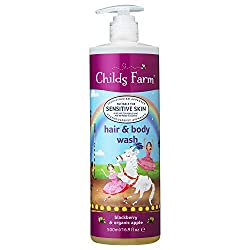 Award-winning Childs Farm hair & body wash in blackberry and apple, with Argan oil. Paediatrician and Dermatologist tested and approved Suitable for sensitive and eczema-prone skin Suitable for newborns and upwards