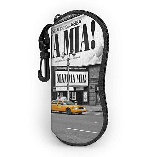 OKIJH Glasses Case with Carabiner,Nyc Yellow Cabs Mamma Mia Ultra Light Portable Neoprene Zipper Sunglasses Soft Case
