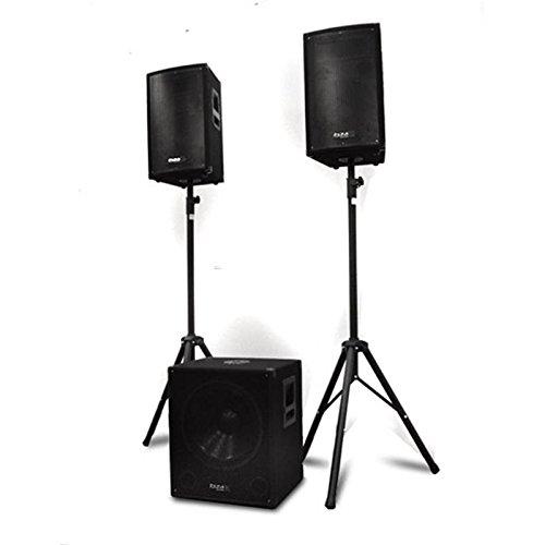 IBIZA CUBE 1812 stereo set (1 x actieve subwoofer 46 cm, 2 x passive, 2 x statief, 1 x transporttas voor statief, 2 x Speakon, 1 x adapter) Ibiza Cube 1812
