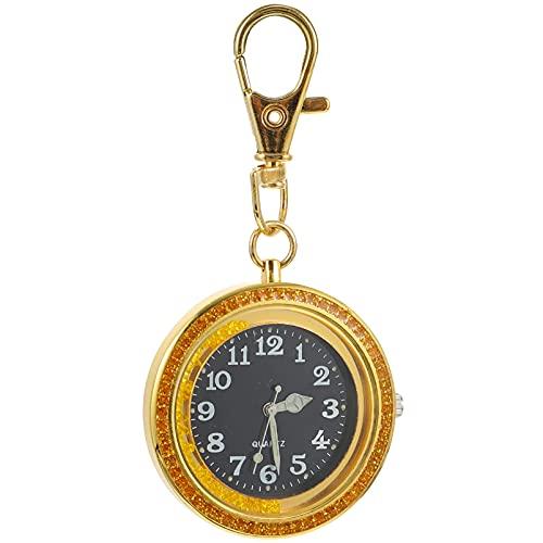 PRETYZOOM Enfermera Solapa Reloj Clip en El Reloj con Segunda Mano Fácil de Leer Cuerda Retráctil Insignia Estetoscopio Retráctil Fob Reloj de Oro