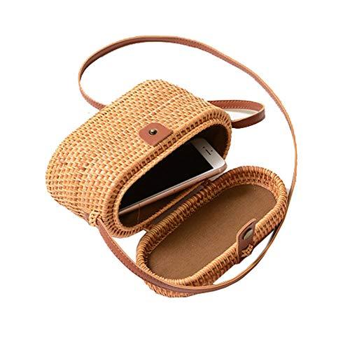 AMYPZN Handwoven Rattan Bag Handmade Bali Ata Straw Shoulder Bag Beach Summer Bag, Beige,...