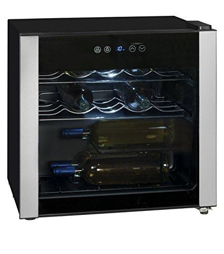Exquisit WS 116-3 EA Weinkühlschrank / 2 Flascheroste verchromt/Temperaturbereich 5.18°C/Für 14x 0,75 Liter Din-Flaschen/Nutzinhalt 49 Liter/EEK: A/LED Beleuchtung/Digitale Temperaturregler, schwarz