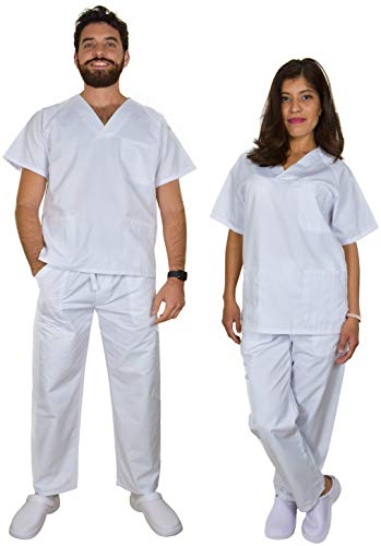 BeBright Uniformes Sanitarios Mujer y Hombre, Pijama Sanitario, Uniforme Enfermera Blanco (M)