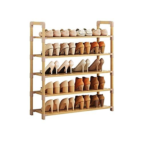 BIAOYU Estante de Zapatos 5 Niveles Zapatillas de bambú Zapato estantería Organizador de Almacenamiento para Entrada de Entrada, Sala de vestíbulo Sala de Estar y Pasillo Organizador de Zapatos