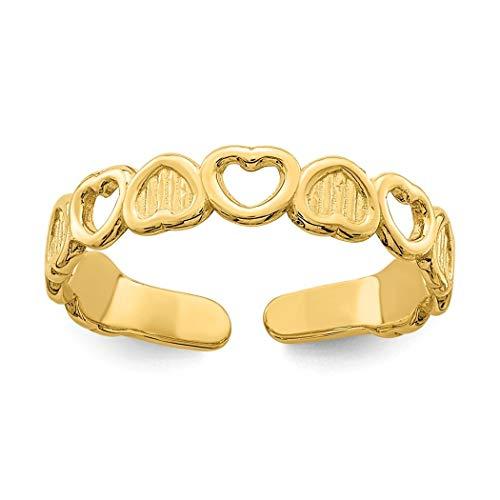 Zehenring, 14 Karat Gold, verstellbar, Liebesherz, Schmuck, Geschenke für Frauen