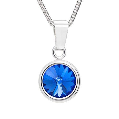 LillyMarie Damen Hals-Kette Echt Silber Swarovski Elements Anhänger Rund Saphir-blau Längen-verstellbar Kleine Geschenke für Frauen