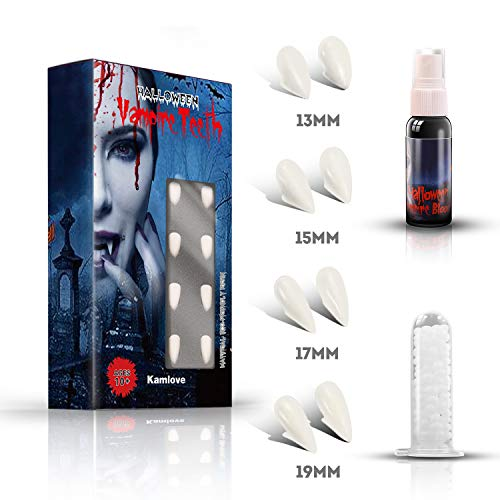 PTG 4 Sizes Vampire Fangs Teeth with Adhesive & 1 oz Fake Blood Spray Makeup,Halloween Party Cosplay Props Decoration,Vampire and Monster Dress Up
