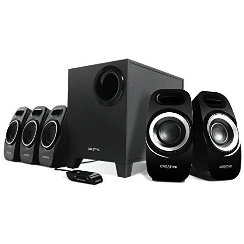 Creative Inspire T6300 5.1-Lautsprechersystem (7 Watts Sinus pro Kanal (5 Kanäle), 22 Watt RMS Subwoofer) schwarz