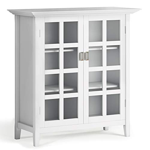 SIMPLIHOME Artisan SOLID WOOD 38 inch Wide Contemporary Medium Storage Cabinet in White, with 2 tempered glass doors , 4 adjustable shelves