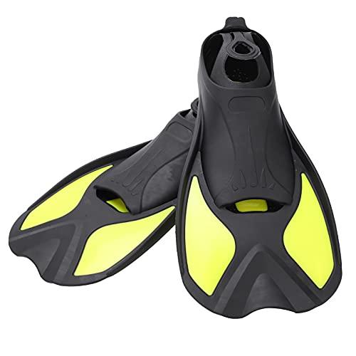Aletas de Buceo Cortas, cómodas de Llevar Aletas de natación Material de Goma Suave TPR Adultos para Snorkel, Buceo o Entrenamiento de natación(Black and Yellow, M)