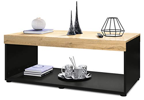 Vladon Coffee Table Living Room Pure with Storage Shelf, Carcass in Black matt/Table Top and Front Panels in Oak Nature