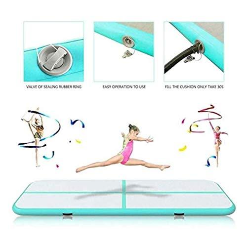 GXLO Air Track Tumbling Mat mit Luftpumpe Aufblasbare Gymnastikmatte für Home Gym Taekwondo Training Beach Water Spielen Camp Picknick,Grün