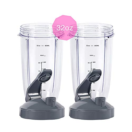 Compatible with Nutribullet 600W 900W Blenders 2 Pack Flip Top to Go Lid with 32oz Tall Cup