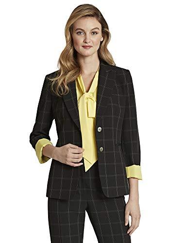 Tahari ASL Women's Petite 2 Button Roll Sleeve Jacket, Black Windowpane, 14P