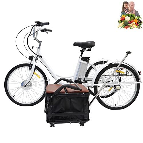 Triciclo eléctrico para Adultos Scooter batería de Litio de 3 Ruedas cómodo Triciclo móvil Canasta de automóvil + Asiento es Adecuado para Hombres, Mujeres, jóvenes y Ancianos(White,24inch)