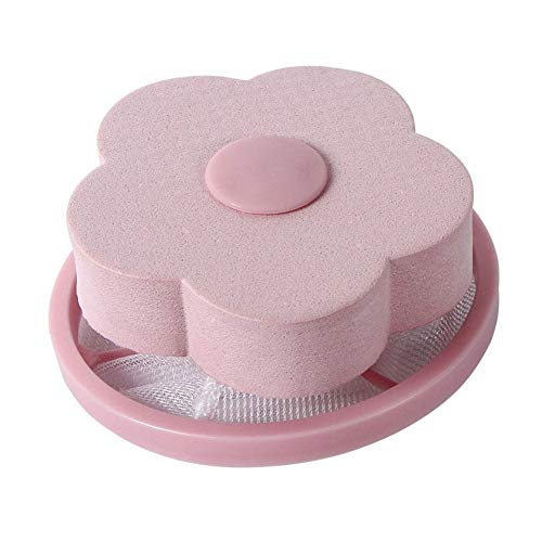 WskLinft Laundry Ball, Round/Flower Shape Washing Machine Useful Durable Hair Removal Laundry Ball Floating Filter Bag Pink