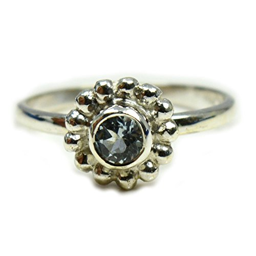 CaratYogi Cubic Zircon Blue Round Cut 925 Sterling Silver Ring Fine Jewelry in Sizes J K L M N O P