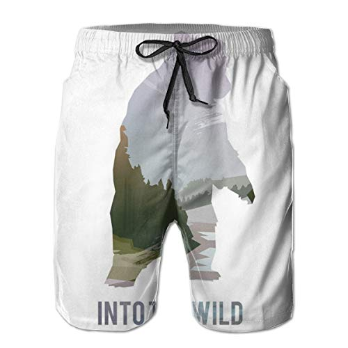Men Swim Trunks Beach Shorts,Wild Animals of Canada Survival In The Wild Theme Hunting Camping Trip Outdoors M