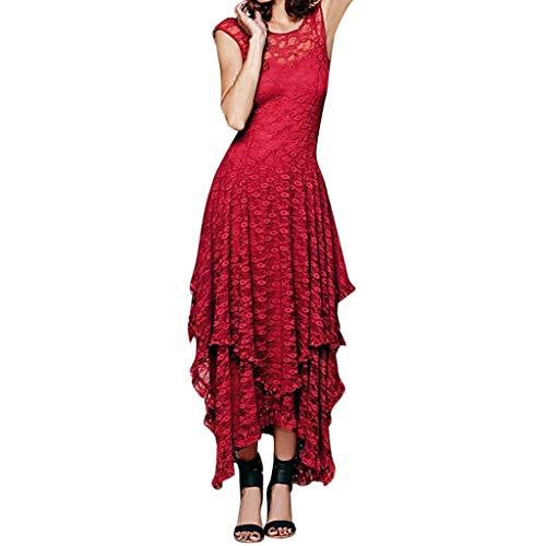 AmyGline Kleider Damen Abendkleider Maxikleid Sexy Boho Kleid Ärmellos Spitze Asymmetrisches Kleid Ballkleid Lang Cocktailkleid Partykleid Festliches Kleider