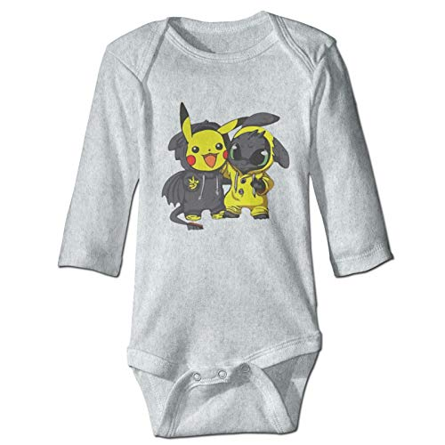 Too_Thl_Ess Pik_A_Chu Baby Long Sleeve Onesies Super Soft Cotton Infant Onesies Comfy Long Sleeve Bodysuit Gray