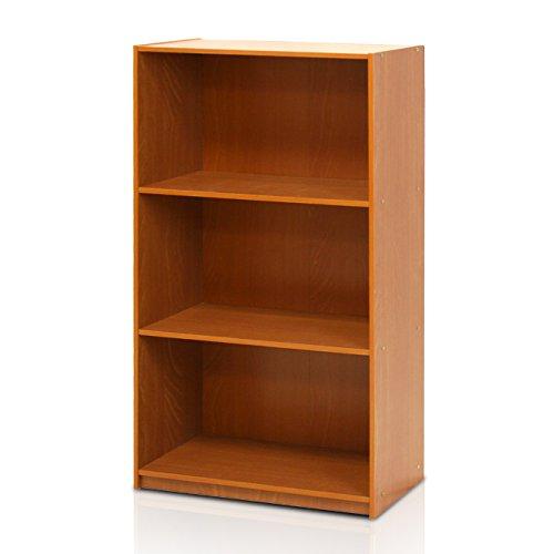 Furinno Basic Bücherregal mit 3 Fächern, Aufbewahrungsregal, Verbundholz, Leichte Kirsche, 23.5 x 23.5 x 100.33 cm