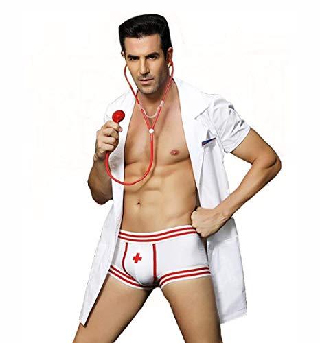 Sexy Männer Dessous Uniform Kostüm Arzt Rollenspiel Outfits Anzug Pyjama Mit Boxer Briefs & Earpiece Set Halloween Gentleman Outfits