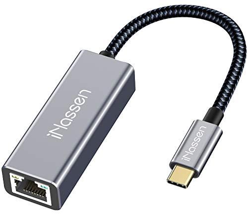 iNassen USB C zu Ethernet Adapter, USB C auf RJ45 Gigabit Ethernet LAN Netzwerkadapterkabel, kompatibel für iPad Pro 2020/2018, MacBook Pro, MacBook Air, Surface Book 2