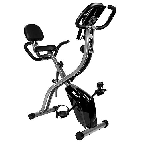 TOLEAD Bicicleta EstáTica Para Ejercicios Plegable De Forma X Con Pantalla LCD, Respaldo, Niveles De Resistencia De Magnética Ajustables y Sensores De Pulso De Mano (Gris)