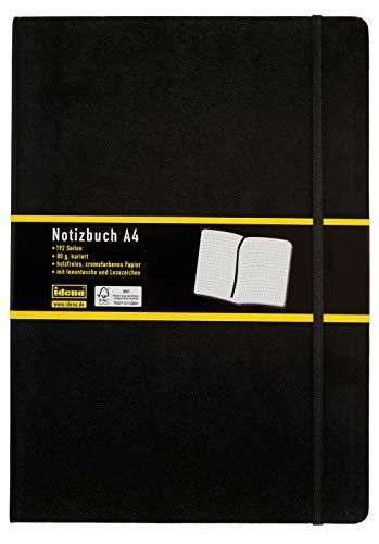 Idena 209280 - Notizbuch DIN A4, FSC-Mix, kariert, Papier cremefarben, 192 Seiten, 80 g/m², Hardcover in schwarz, 1 Stück
