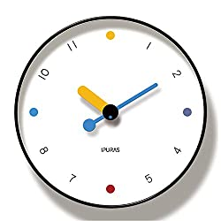 Konigswerk Wall Clock Silent Quartz Non-Ticking Decorative Battery Operated Round Clock for Living Room Home Office School (12 inch) (White Modern)