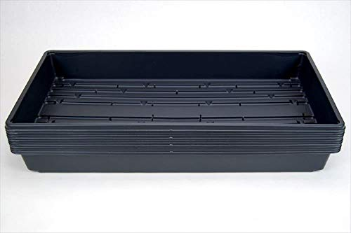 labworkauto Black Plastic Growing Trays Garden Seed Starter Grow Trays Fit for Seedlings, Indoor Gardening, Growing Microgreens, Wheatgrass More Soil or Hydroponic