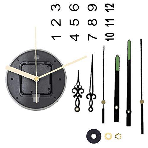 Flüsterleises Quarzwerk Ersatz Quarz Uhrwerk für Wanduhr Maximaldicke des Ziffernblatts von 7mm mit der Aufhängung zum Basteln Analoges Quarzuhr mit drei schönen Zeiger Sets und Uhrwerkzahlen (9mm)