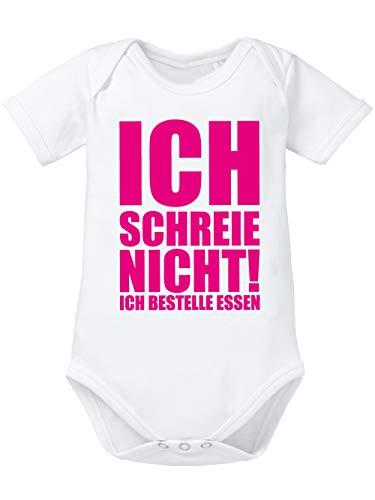 clothinx Baby-Body Bio Sprüche Ich Schreie Nicht, ich bestelle Essen Weiß/Pink Größe 74-80