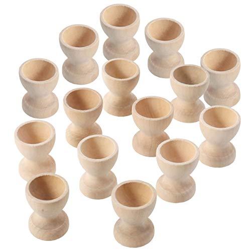 TOYANDONA 15 Unidades de Tazas de Huevo de Madera Soporte de Huevo Taza de Huevo de Juguete Soporte de Huevo Taza de Exhibición de Huevo Bandeja de Huevo para Niños DIY