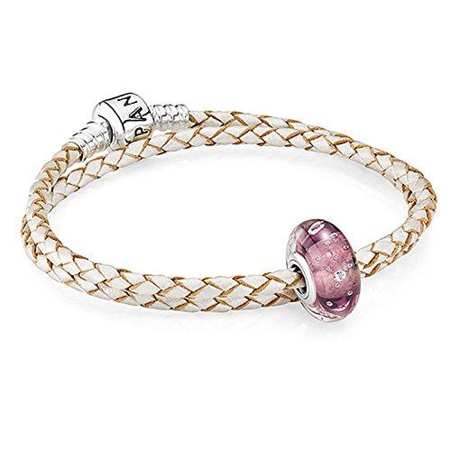 Pandora cremefarbenes Lederarmband mit violettem Muranoglas-Charm