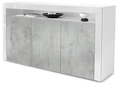 Vladon Sideboard Kommode Valencia, Korpus in Weiß matt/Front in Beton Oxid Optik mit Rahmen in Weiß Hochglanz