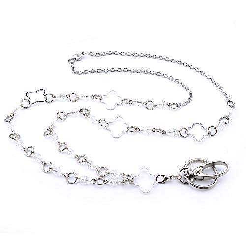 LUXIANDA Clover-Shaped Rings Lanyards for Women Necklaces Badge Holder Name Lanyards for Keys and Cards Stainless Steel Chain
