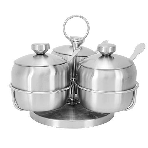 Juego de caja giratoria para condimentos, recipientes multiusos de acero inoxidable para condimentos con cucharas y tapa, tarro de especias para encimera de cocina para sal, azúcar, pimienta