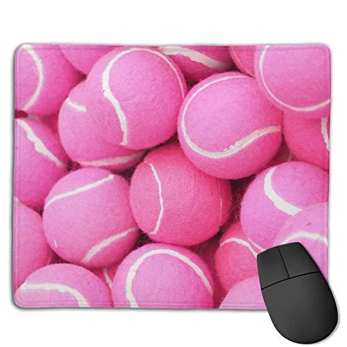 Alfombrilla de ratón para juegos, diseño de pelotas de tenis, color rosa brillante, personalización personalizada para juegos y oficina, alfombrilla de ratón cosida, borde de oficina más grueso