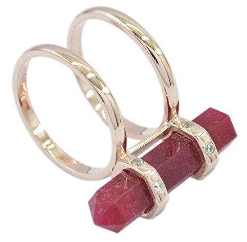 Riyo Envoûtant Indien Rubis Argent Sterling 925 Or Rose Or suppresseur d'anneau Rouge52