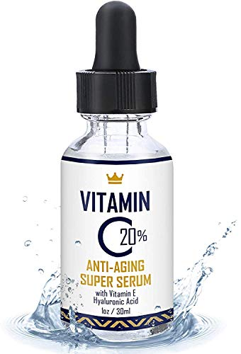 Vitamin C Serum for Face 1oz - 20% Vitamin C Serum with Hyaluronic Acid and Vitamin E - USA Made Anti-Aging and Hydrating Facial Serum - Best Anti Wrinkle Solution for Younger and Brighter Skin