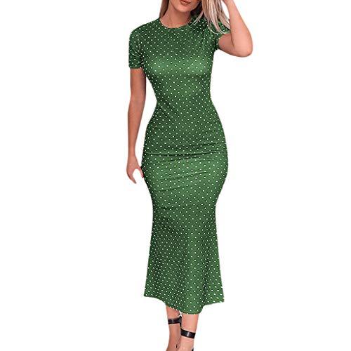 TWIFER Damen Kurzarm Sommerkleid Fischschwanz Kleid O Hals Punkte Meerjungfrau Kleid Asymmetrische Partykleider Urlaub